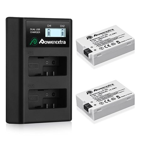 Powerextra 2 Pack Replacement Canon LP-E8 Batteries and Smart LCD Display Dual USB Charger for Canon Digital Camera