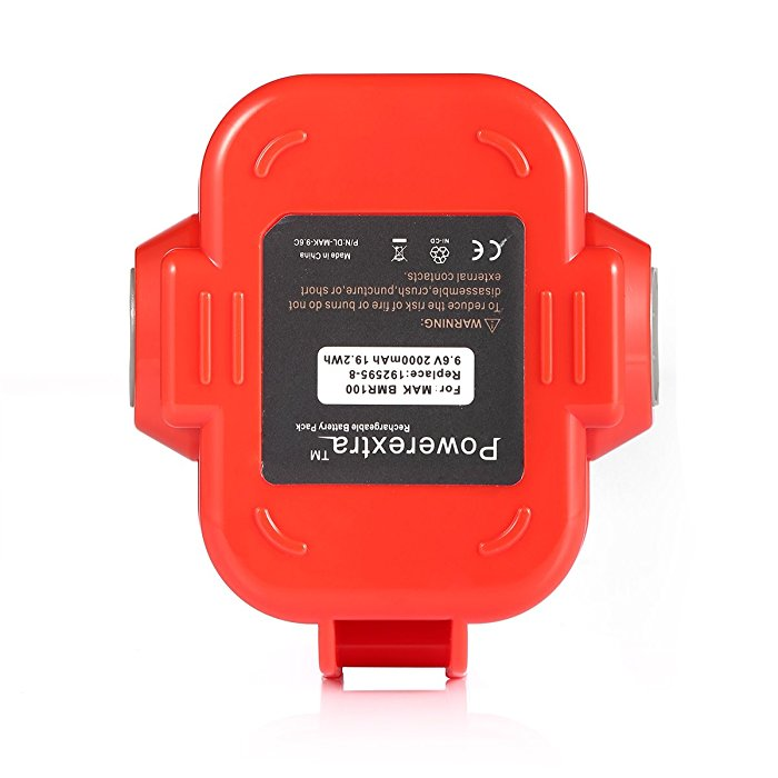 Powerextra 9.6V 2000mAh Replacement Battery for MAKITA 9120 9122 192595-8 192596-6 192638-6 193977-7 638344-4-2 2 Pack