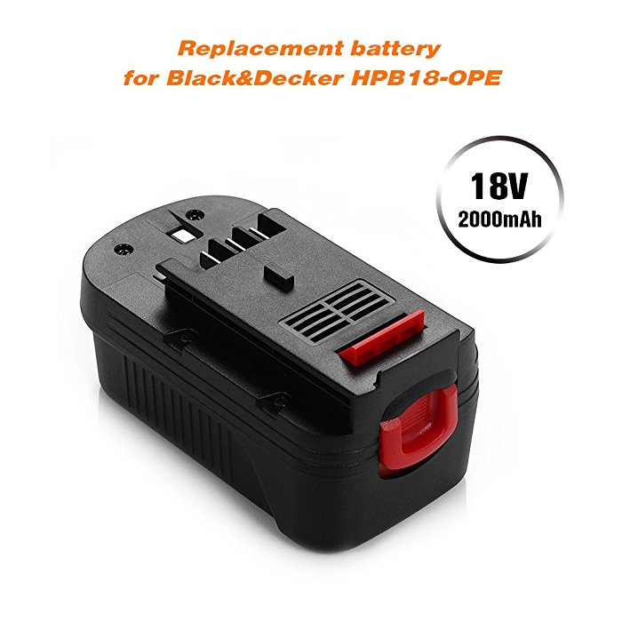 2 Pack Black Amp Decker 18v 2000mah Replacement Battery For