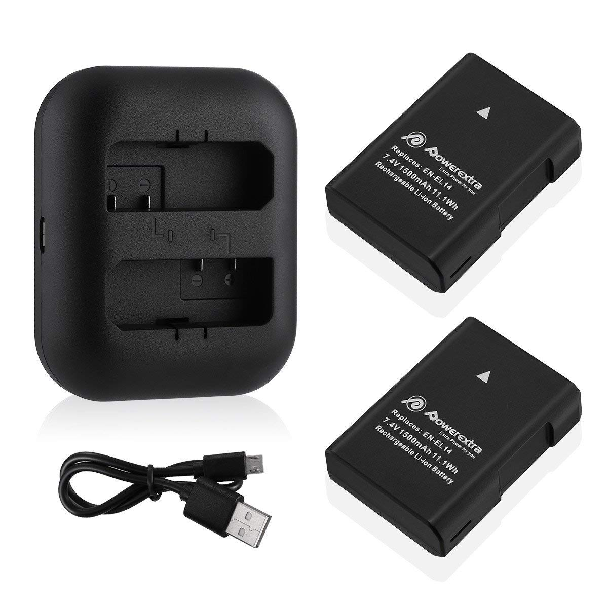2 Pack Replacement Battery and Dual Battery Charger for Nikon EN