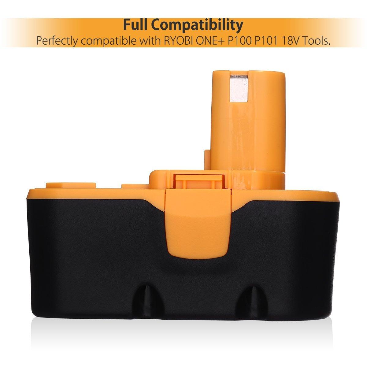 3000mah Nimh Replacement Battery For Ryobi 18v Cordless Drill