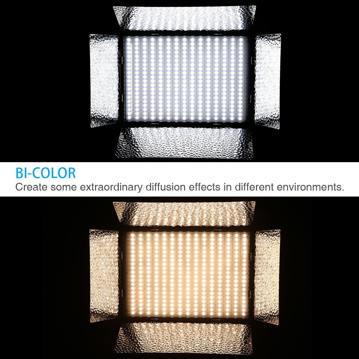 Powerextra 900 Beads Cri 96 Bi Color Dommable Led Video Light