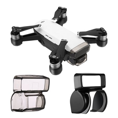 Powerextra DJI Spark Camera Gimbal Lens Camera Cover Protector Guard, Front 3D Sensor System Screen Cover + Camera Gimbal Anti-Glare Sunshade Lens Cap Hood Kits