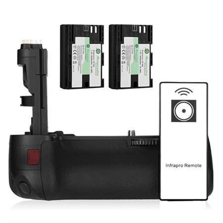 Powerextra BG-E9 Vertical Battery Grip for Canon EOS 60D 60Da Digital SLR Cameras with Infrared Remote Control and 2 Pack 2600mAh LP-E6/LP-E6N Batteries