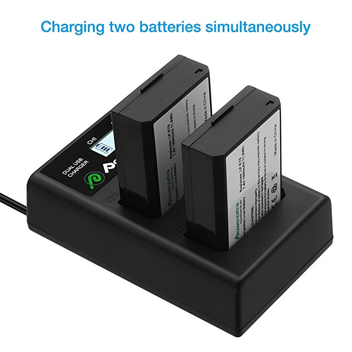 Powerextra Smart LCD Dual USB Charger For Canon LP E10 Batteries And