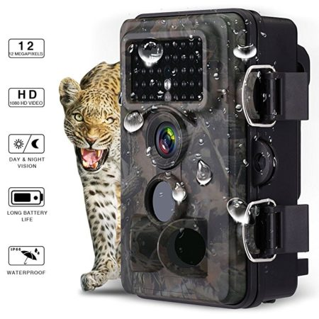 Powerextra 12MP 1080P HD Hunting Trail Game Camera 120°Wide Angle 3 Zone No Glow IR Infrared Night Vision Waterproof Wildlife Outdoor Monitoring Camera