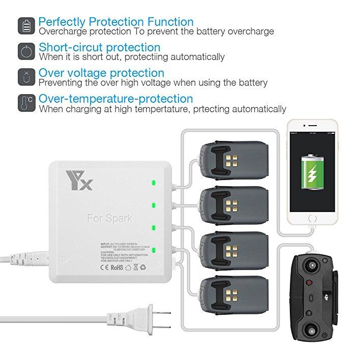 Powerextra Multi-purpose Rapid DJI Spark Battery Charging Hub