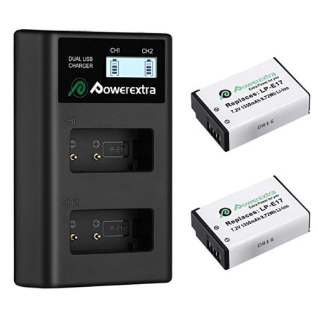 Powerextra 2 Pack Replacement Canon LP-E17 Batteries and Smart LCD Display Dual USB Charger for Canon Digital Camera