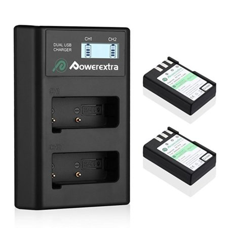 Powerextra 2 Replacement Battery and Dual Battery Charger with LCD Display for Nikon EN-EL9 and Nikon D40 D40x D60 D3000 D5000 Cameras