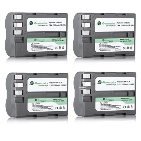 Powerextra 4 Pack Replacement Battery for Nikon EN-EL3E and Nikon D50, D100, D200, D300, D300S, D700 Digital SLR Cameras