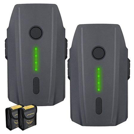 Mavic Pro Battery, 2-Pack Powerextra 11.4V 3830mAh LiPo Intelligent Flight Battery + Battery Safe Bag