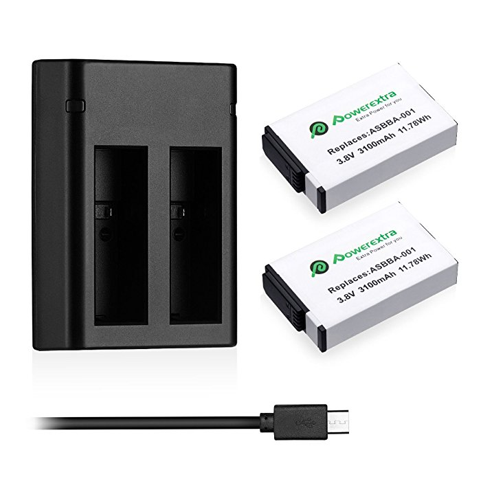 Powerextra 2 Pack Replacement 3100mAh Gopro Fusion Battery & Dual