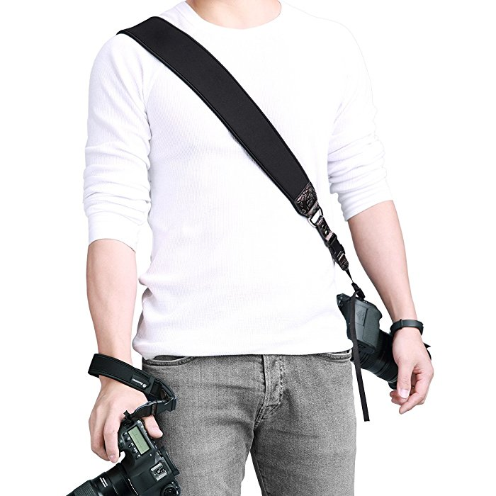 028fd28acfc Powerextra Rapid Fire Camera Neck Shoulder Strap and Wrist Strap Quick  Release and Safety Tether for Nikon Sony Olympus Pentax